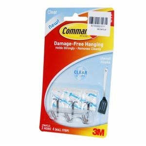 3M COMMAND CLR WIRE HOOKS SML 3PC 4STRIP