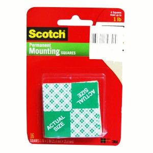 3M SCOTCH MOUNTING SQUARES 1X1X16PC