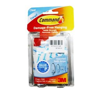 3M COMMAND CLR REFILL STRIPS ASSD.16PC